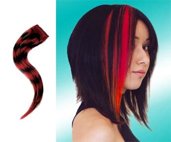 Human Hair Glam Strip by Manic Panic- Black With Vampire Red Savage Tiger Stripe - SALE