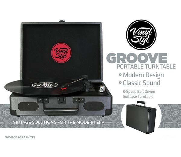 Groove Portable Turntable By Vinyl Styl Graphite Sale