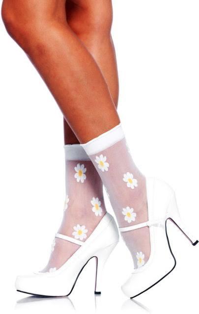 Sheer Daisy Anklet Socks - White & Yellow