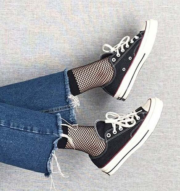 Fishnet Anklet Socks -  Black