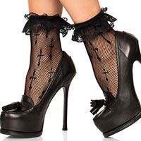 Worship Me Cross Fishnet Anklet Socks -  Black