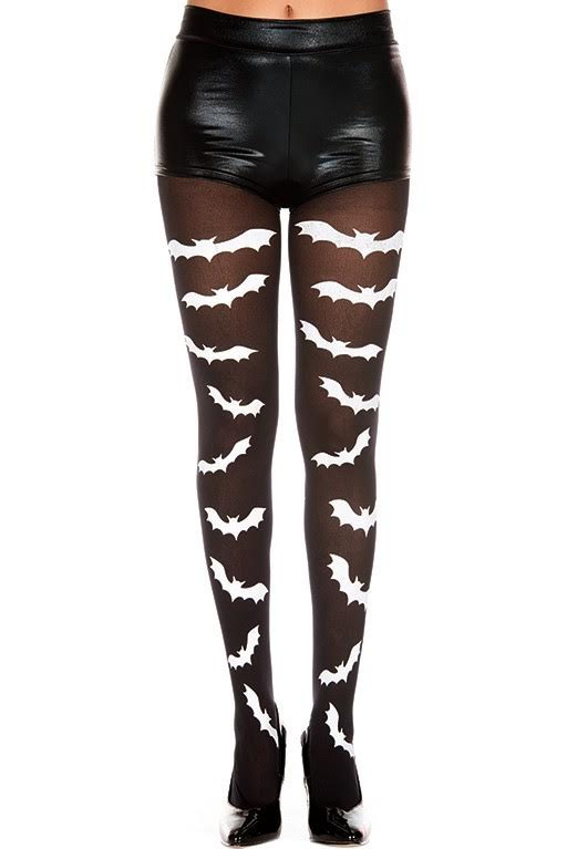 Gothic Flying Bats Panty Hose - Black with White Bats