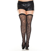 Black Spider Web Thigh Highs - Plus Size