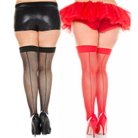 Fishnet Back Seam Thigh High- Plus Size -in 2 colors