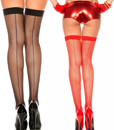 Fishnet Back Seam Thigh High - in black or red