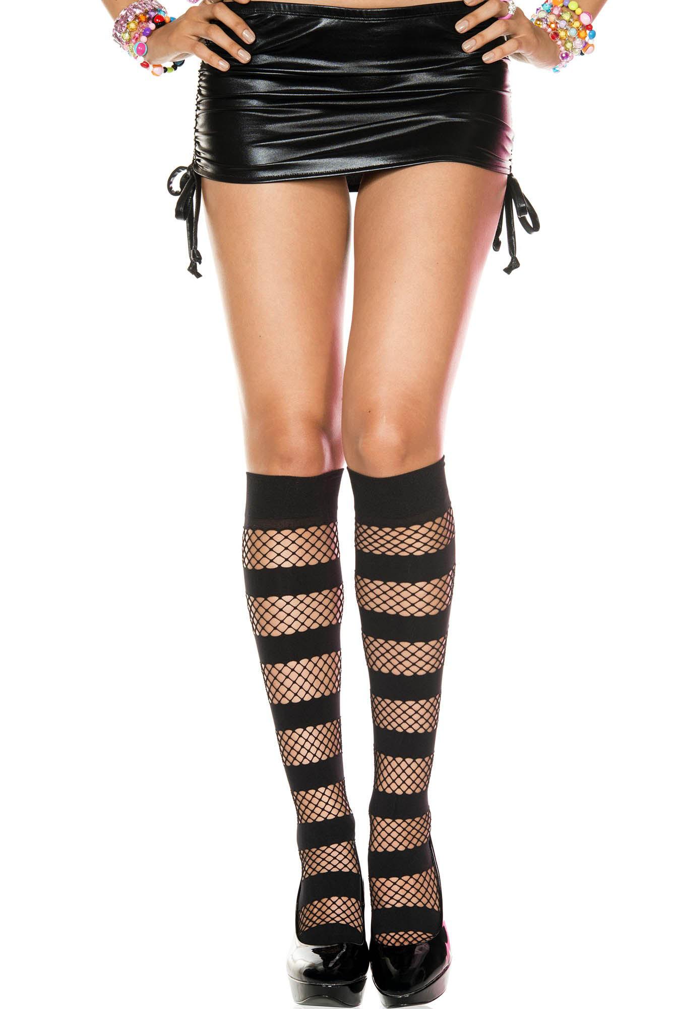 88500e2be6b458 Striped Diamond Fishnet Knee Socks- Black