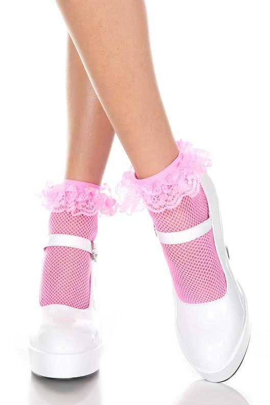 Fishnet Ruffle Ankle Socks- Neon Pink