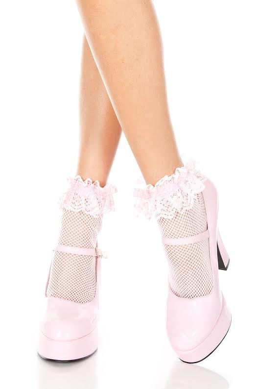 Fishnet Ruffle Ankle Socks- Baby Pink