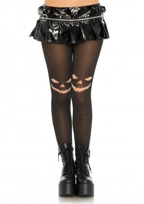 Jack O' Lantern Opaque Printed Tights