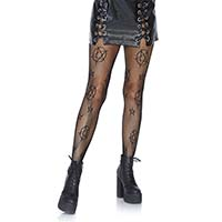Occult Print Fishnet Pantyhose
