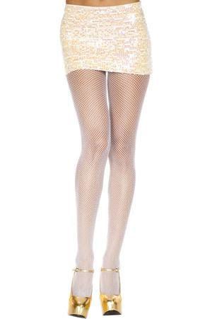Spandex Plus Size Fishnet Panty Hose- WHITE