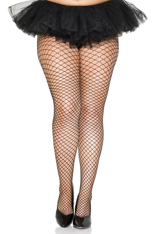 Mini Diamond Black Fishnet Panty Hose - Plus Size