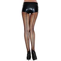 Contrast Thick Backseam Spandex Fishnet Panty Hose- BLACK