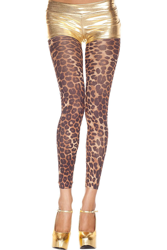 Footless Opaque Cheetah Print Legging Tights
