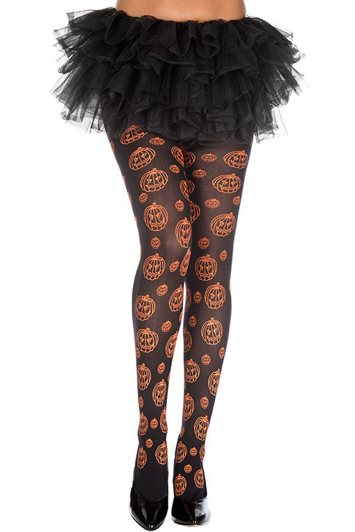 Repeat Print Grinning Halloween Pumpkin Pantyhose