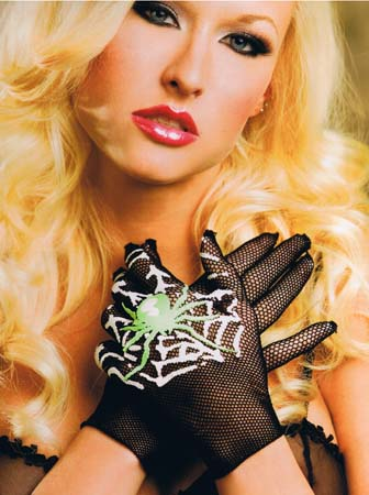 Fishnet Gloves With Spider On Web Print - SALE