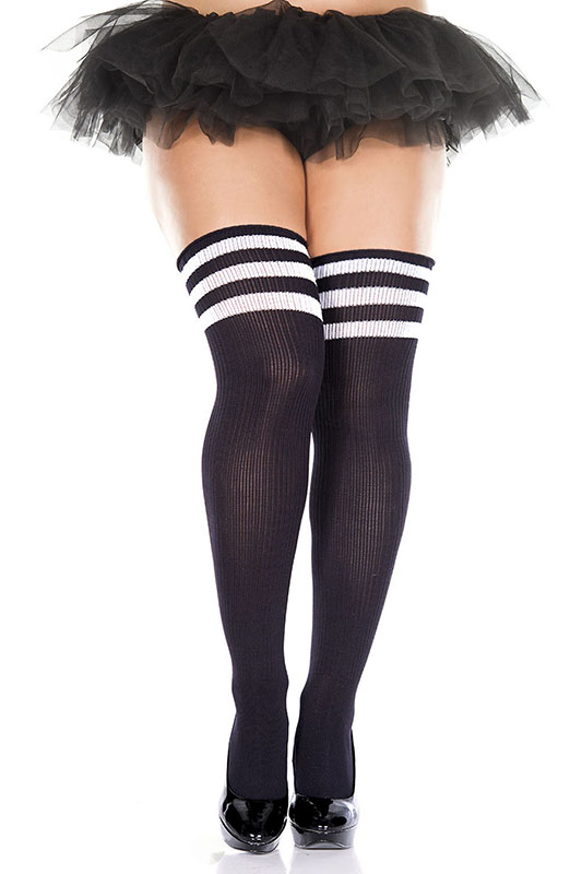 Thigh Hi Striped Top Socks - in black - Plus Size