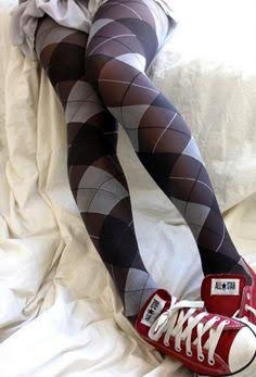 Argyle Tights- Grey/Black/White