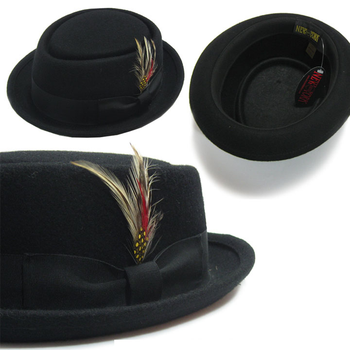 Be-Bop Felt Pork Pie Hat in BLACK by New York Hat Co.