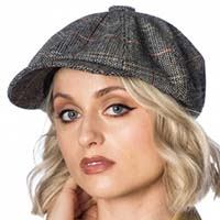 Paper Boy Cap by Banned Apparel - Grey Herringbone