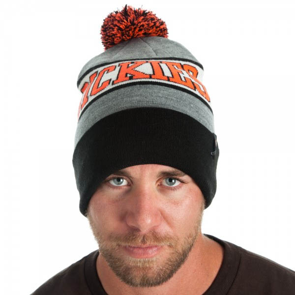 Dickies- Logo Pom Beanie in BLACK / GREY / BLAZE