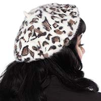Fuzzy Leopard Faux Fur Beret by Sourpuss Clothing