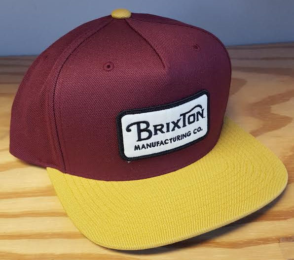 Grade Snap Back Hat by Brixton- MAROON / GOLD (Sale price!)