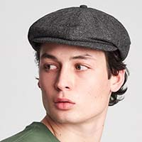 Brood Hat by Brixton- Grey/Black Herringbone