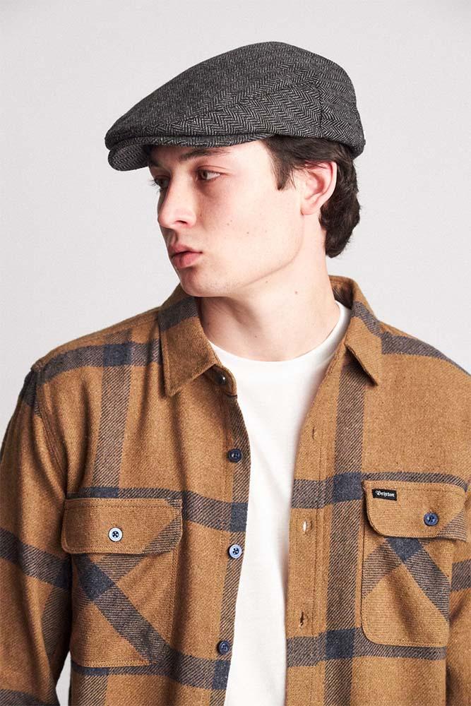 e21db12c28aa2 Hooligan Hat by Brixton- GREY   BLACK HERRINGBONE