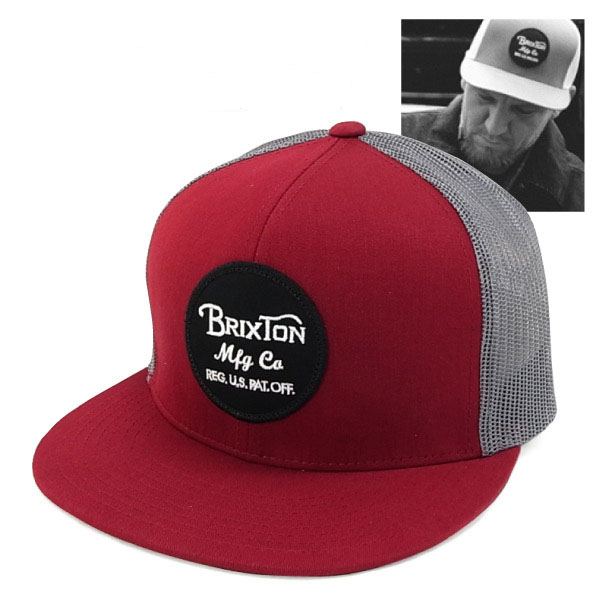 Wheeler Trucker Hat by Brixton- MAROON / GREY (Sale price!)