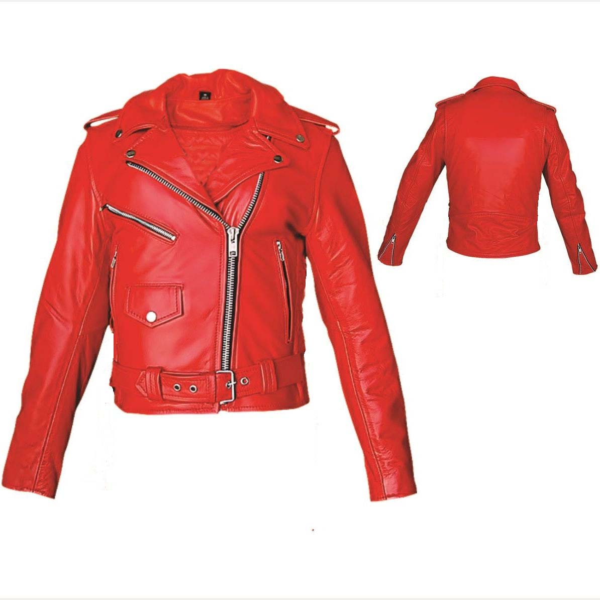 Girls Biker Jacket- RED leather
