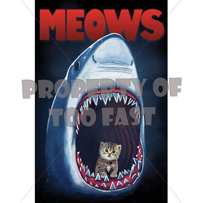 Meows Kitten & Shark Poster from Too Fast Clothing - SALE last one