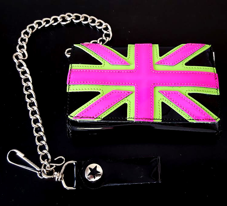 Neon Pink/Green Union Jack On A Black PVC Wallet by Funk Plus (Comes With Chain)