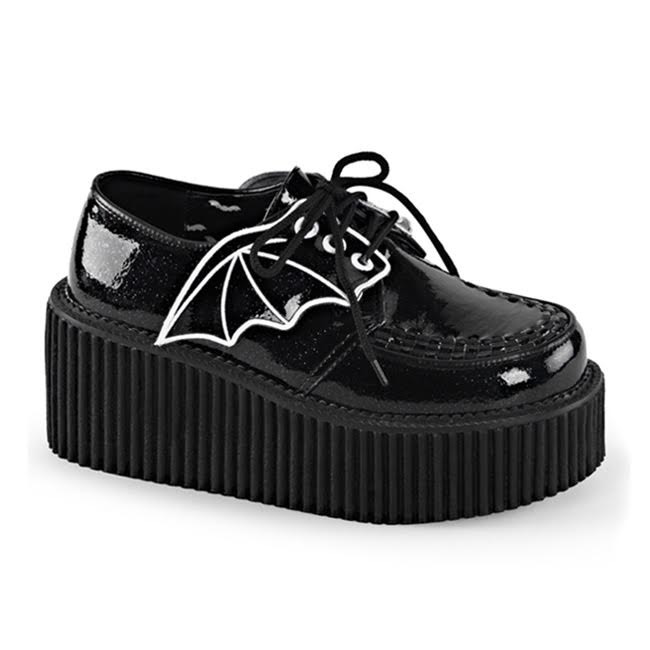 Black Glitter Bat Wing Creeper by Demonia Footwear