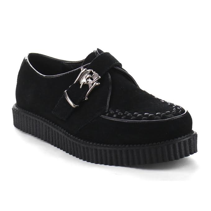 Unisex Suede Skull Buckle Creeper by Demonia Footwear