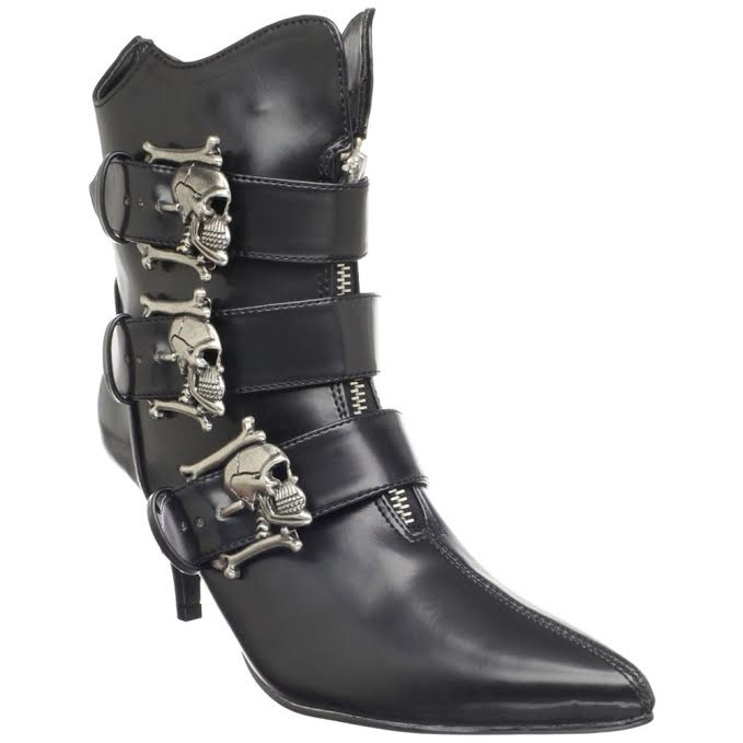 Fury Skull Buckle Witchy Ankle Boot by Demonia Footwear - in Black