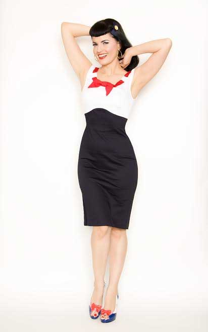 adcedacfe Katy High Waisted Bow Dress By Steady Clothing - Red Bow w White Top & Navy  Bottom ...