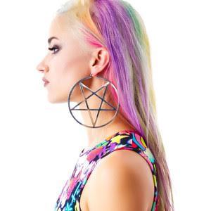 Silver Pentagram Hoop Stainless Steel Earrings by Killstar - SALE