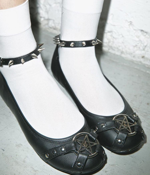 Pentagram Flat with Spiked Ankle Strap by Demonia Footwear - in Black