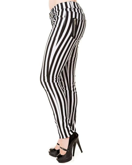 0ff474f0283c Beetlejuice Black & White Stripe Skinny Jeans by Banned Apparel - sz ...