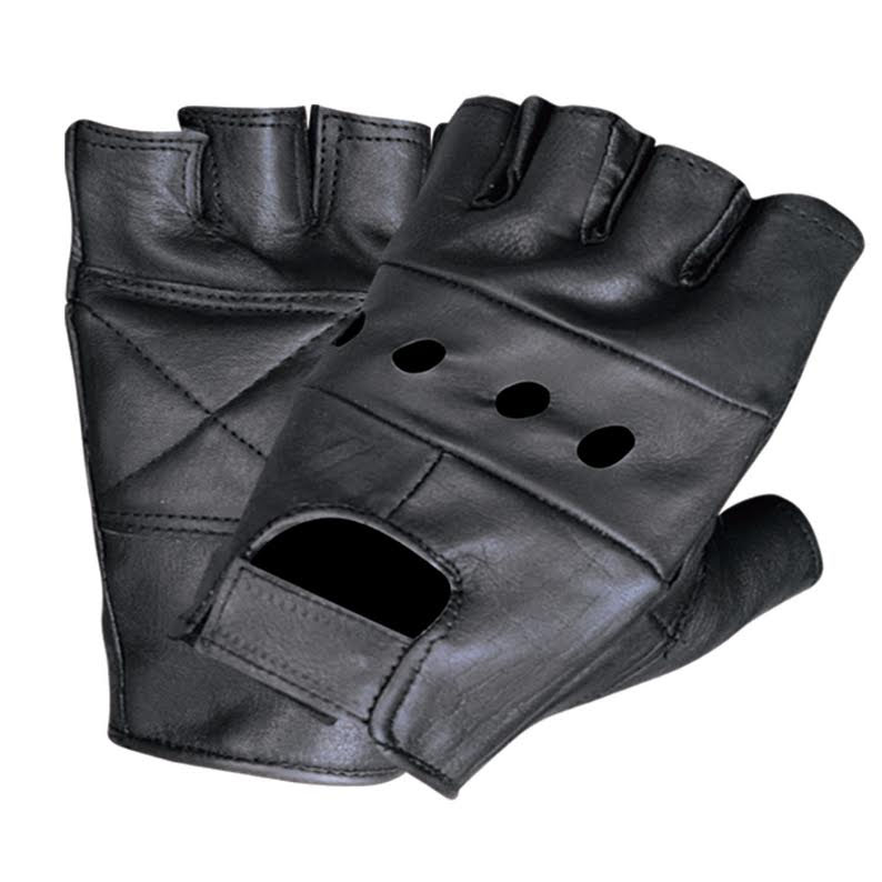 Black Leather Fingerless Gloves by Unik