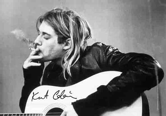Kurt Cobain- Smoking Fabric Poster
