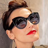 Mousey Large Cat Eye Frame Sunglasses - assorted colors #12