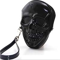 Smiling Skull Zippered Wristlet / Bag by Sleepyville Comeco