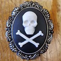 Skull & Crossbones Cameo Brooch Mobtown Pin on Black - SALE - last one