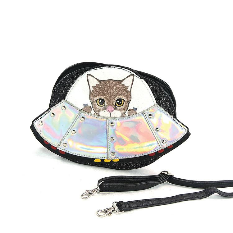 Sleepyville Spaceship Kitty Shoulder Bag