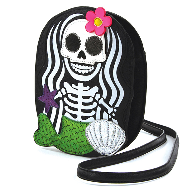 Sleepyville Skeleton Mermaid Cross Body Purse