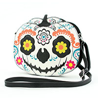 Sleepyville  Sugar Skull White Pumpkin Shoulder Bag by Comeco