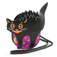 Scary Halloween Black Cat Cross Body Bag by Comeco
