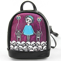Frida Skeleton Girl & Balloon Cats mini Backpack by Comeco
